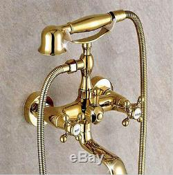 Gold Finish Wall Mount Clawfoot Bath Tub Faucet Tap with Handheld Spray Shower