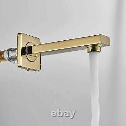 Gold Shower Faucet Set 10 LED Rainfall Head Sprayer Tub Filler with 3 way Valve