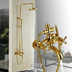 Gold Shower Faucet Tap 20CM Rain Shower Head With Handshower Set Tub Mixer Tap