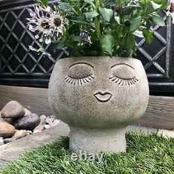 Grey Concrete Face Planter Head Plant Pot Garden Outdoor Person Vase Home Decor