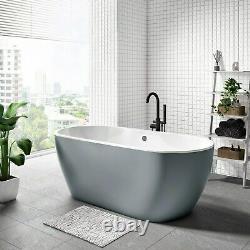 Grey Freestanding Double Ended Acrylic Bath Tub 1655mm Round Monochrome Bathroom