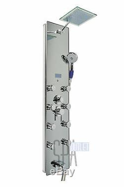 HOT Aluminum Bathroom Rainfall Shower Panel Towe with Tub Spout Massage Jets Spa