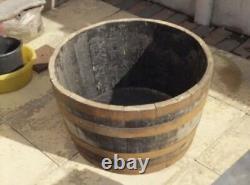 Half Oak Whisky Barrel Planter Wooden Solid Garden Decking Patio Garden Tub pond