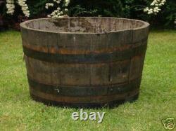 Half oak wine Whisky barrel planters Garden Patio Lawn Tub Flower Pot Pond Solid