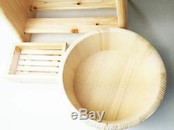 Hinoki Cypress Onsen Bath Set Wood Bath Stool Chair, Sope Box & OKE Wooden Tub