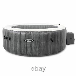 Intex Greywood Deluxe 4 Person Portable Inflatable Hot Tub Spa w LED Light, Gray