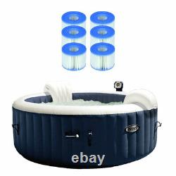 Intex PureSpa Inflatable 4 Person Hot Tub w Bubble Jets & 6 S1 Filter Cartridges
