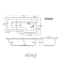 L-Shaped Shower Bath Right Hand 1700 x 850mm White Acrylic Modern Bathroom Tub