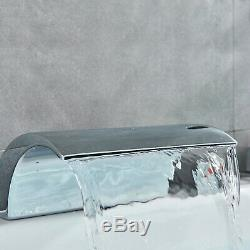 LED Bathtub Faucet Waterfall Filler Spout Sink withHandshower Tap 5 Holes Mixer