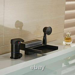 LED Colors Oil Rubbed Bronze Waterfall Bathtub Faucet WithHand Shower Mixer Tap