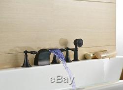 LED Oil Rubbed Bronze 5pcs Bath Tub Mixer Tap Deck Mount Faucet WithHand Shower