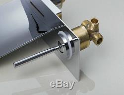 LED Waterfall Brass Spout Basin Sink Wall Mount Bathtub Chrome Mixer Faucet Taps