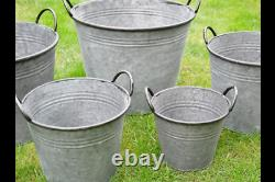 Large Round Galvanised Metal Bucket Planters Tub Plant Garden Flower Pot 5 sizes