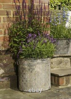 Large Round Vintage Grey Galvanised Metal Garden Flower Tub Pot Planters Decor