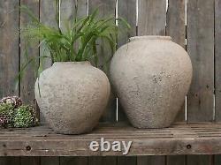 Luc French Terracotta Plant Pot Cover, Antique Round Rustic Planter Crock, H29cm