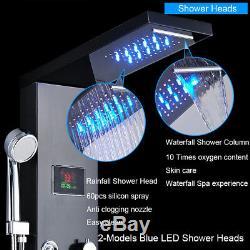 Luxury Black ORB Bathroom Shower Faucet LED Shower Panel Column Bathtub Mixer