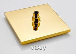 Luxury Gold Bath Square 8 Rainfall Shower Faucet Set Tub Mixer Tap+Hand Spray