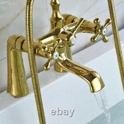 Luxury Gold Bathtub Deck Mount 2 Handles Hole Mixer Faucet Handheld Shower Tap