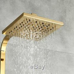 Luxury Gold Brass Bathroom Shower Set Mixer Tap Wall Mounted 360° Bathtub Spray