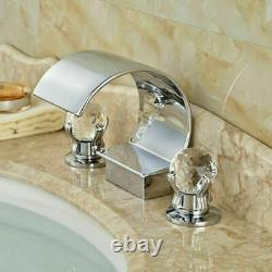 Luxury Waterfall Bathroom Basin Taps Bath Tub Filler Tap 2 Handle 3 Holes Faucet