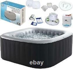 MSpa Self Inflatable Hot Tub 4-6 Persons Jacuzzi Bubble Spa Square Accessories