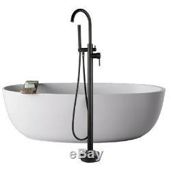 Matt Black High Rise Round Spout Bath Mixer Tap Floor Mounted Shower Tub Faucet