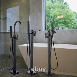 Matte Black Freestanding Bathroom Mixer Tap Hand Shower Floor Mounted Tub Faucet