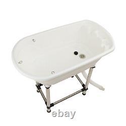 MiMu Raised Dog Bathtub in White Medium Pet Grooming Tub Elevated Dog Bath Tub