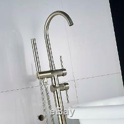 Modern Brushed Nickel Free Standing Bathtub Faucet Tub Filler Faucets Bathroom