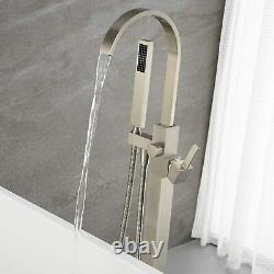 Modern Brushed Nickel Free Standing Floor Mount Bathtub Faucet Tub Filler Faucet