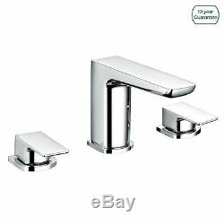 Modern Designer Chrome Bath Tub Filler Taps Basin Mixer 3 Tap Hole Deck Mounted