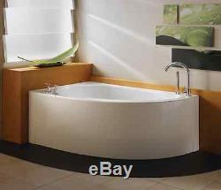 Neptune Wind 60 Lovely Freestanding Corner Bathtub, White, Drain Right WI60