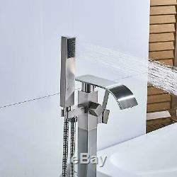 Nickel Waterfall Free Standing Floor Mounted Bath Taps Hand Held Shower Bathtub