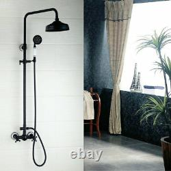 ORB Black Bathroom Rain Shower Head Faucet Set Mixer Hand Tap Wall Mounted Brass