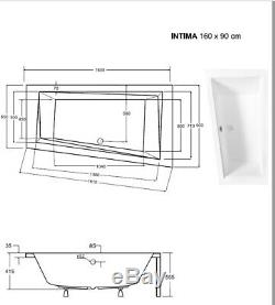 Offset Corner Bath INTIMA SPACE SAVER 1600 x 900 mm 160 x 90cm Bathtub