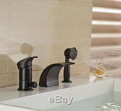 Oil Rubbed Bronze 3pcs Waterfall Bathtub Faucet Single Handle Tap WithHand Shower