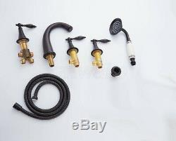 Oil Rubbed Bronze 5 Hole Roman Tub Bathtub Faucet with Hand Shower Spray Ztf055
