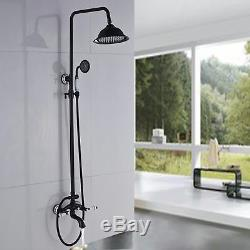 Oil Rubbed Bronze Bath Rain Shower Faucet Set Tub Mixer Tap with Hand Sprayer