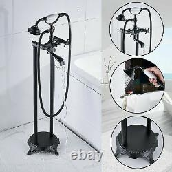 Oil Rubbed Bronze Bathtub Faucet Floor Mounted Free Standing Tub Filler WithSpray