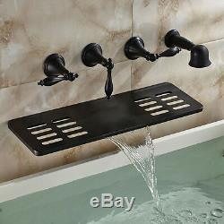 Oil Rubbed Bronze Brass Bathtub Faucet Wall Mount Mixer Tap Waterfall Shelf Tap