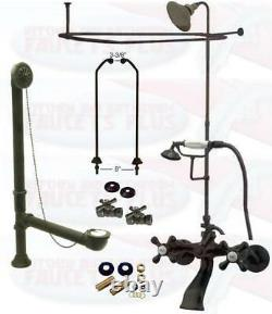 Oil Rubbed Bronze Clawfoot Tub Faucet Kit WithShower Riser, Enclosure, & Drain