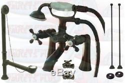 Oil Rubbed Bronze Deck Mount Clawfoot Tub Faucet With Drain Supplies Stops