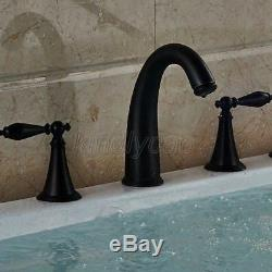 Oil Rubbed Bronze Double Handle Widespread Roman Bathroom Bath Tub Faucet Knf011