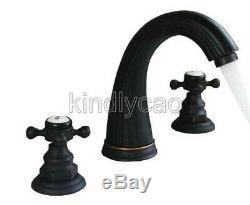 Oil Rubbed Bronze Double Handle Widespread Roman Bathroom Bath Tub Faucet Knf282