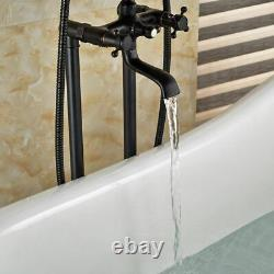 Oil Rubbed Bronze Floor Mount Free Standing Tub Faucet Tub Filler Hand Shower