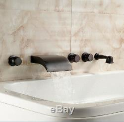 Oil Rubbed Bronze Waterfall Bathtub Faucet Wall Mount Mixer Tap With Hand Shower