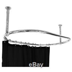 Oval Bathroom Ceiling Mounted Shower Curtain Rail 1150 x 640 MM