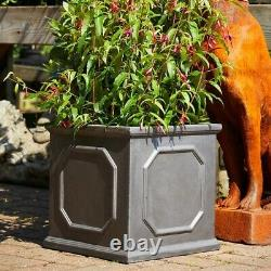 Pair of 27cm Clayfibre Grey/Silver Chelsea Box Planters Garden Plant Pots Home