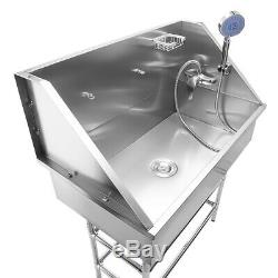 Pet Dog Cat Wash Shower Grooming Bath Tub Professional Stainless Steel 34