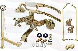 Polished Brass Clawfoot Tub Faucet Kit Includes Drain Supplies & Stops